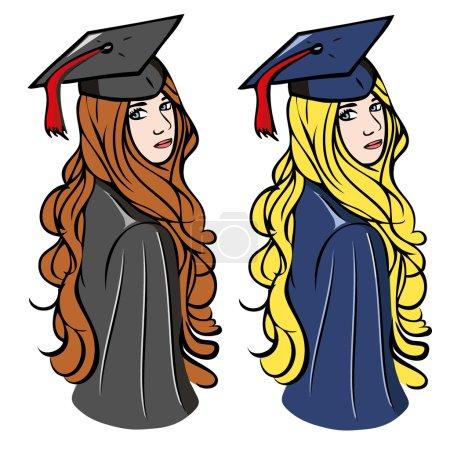 Illustration for Graduation girls  illustration - Royalty Free Image
