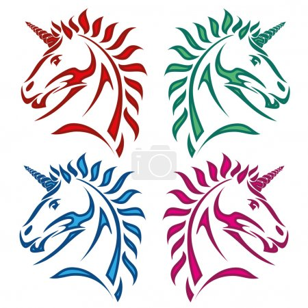 Colored unicorn set