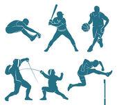 Set di sagome di atleti