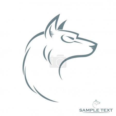 Illustration pour Illustration isolée de tête de loup - image libre de droit