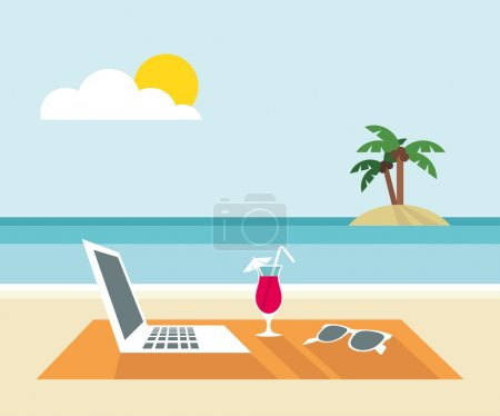 Photo for Laptop, cocktail, sunglasses on the beach - flat design - vector illustration - Royalty Free Image