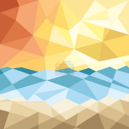 Illustration for Abstract beach sunset background with geometric elements  illustration - Royalty Free Image