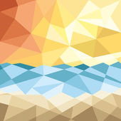 Abstract beach sunset background with geometric elements  illustration
