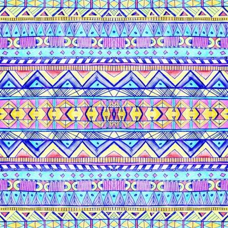 Seamless geometric pattern in aztec style.