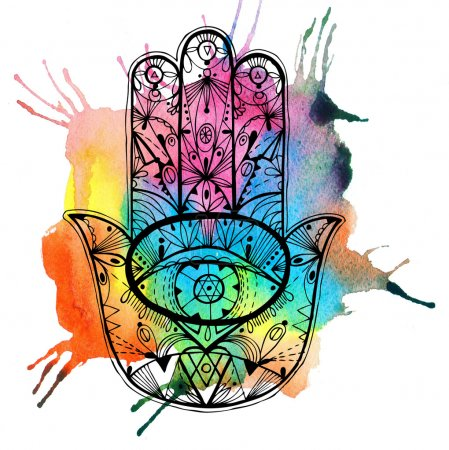 Hand drawn boho hamsa hand with watercolor.