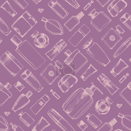 Illustration pour Bouteilles de parfum motif sans couture dessiné à la main. Bouteilles de produits cosmétiques. Illustration vectorielle . - image libre de droit