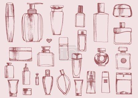 Illustration pour Flacons de parfum dessinés à la main. Bouteilles de produits cosmétiques. Illustration vectorielle . - image libre de droit