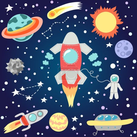 Illustration for Seamless outer space pattern. Children's cosmos. Vector illustration. - Royalty Free Image