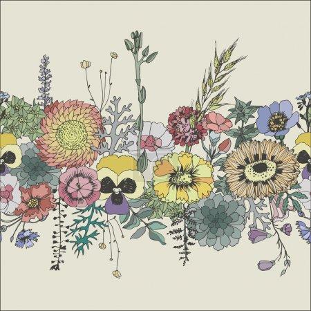 Floral seamless border.