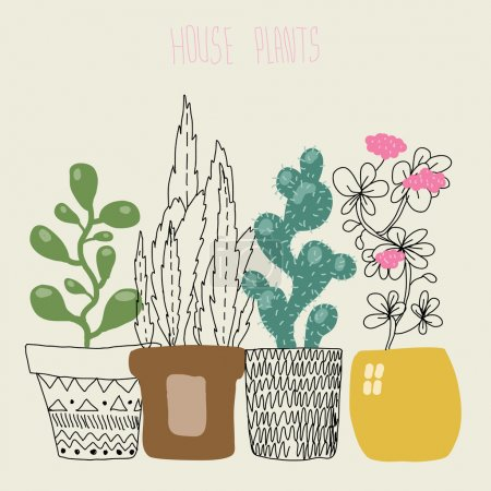 Illustration for House plants. Vector illustration. - Royalty Free Image