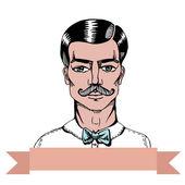Portrait of a man whit a moustache