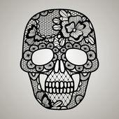 Vector illustration of black floral lacy skull
