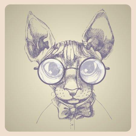 Illustration pour Portrait de chat à nageoires. Illustration vectorielle dessinée main. Peut être utilisé séparément de votre conception . - image libre de droit