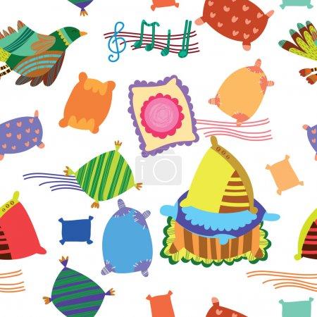 Illustration pour Modèle sans couture avec des oreillers et des oiseaux. joli fond doux pour la décoration - image libre de droit