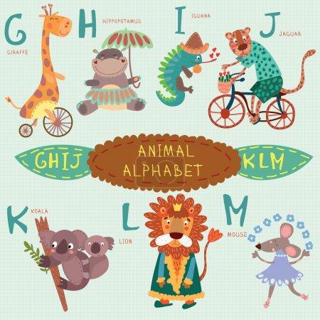 Photo pour Joli alphabet animal. G, h, i, j, k, l, m lettres. Girafe, hippopotame, iguane, jaguar, koala, lion, souris.Alphabet design dans un style coloré . - image libre de droit
