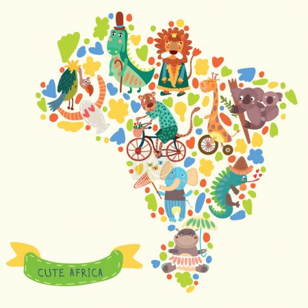 Map of Africa with cute