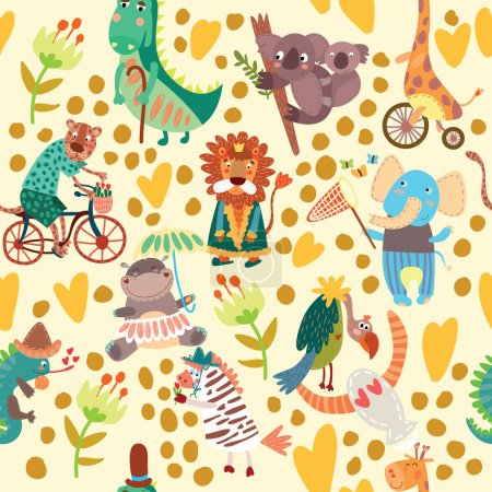 pattern with wild animals from