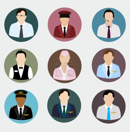 Set of human profile flat icons for mobile and web apps