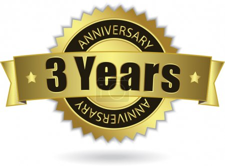 """3 Years Anniversary"" - golden stamp with ribbon, Vector EPS 10"