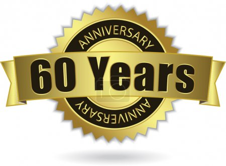 """60 Years Anniversary"" - golden stamp with ribbon, Vector EPS 10"