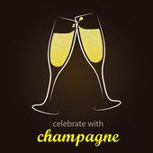 Champagne Toast - moment of celebration - Stylish and minimalist vector background