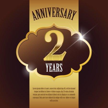 """2 Year Anniversary"" - Elegant Golden Design Template , Background , Seal"