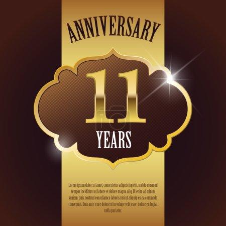 """11 Year Anniversary"" - Elegant Golden Design Template , Background , Seal"