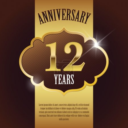"""12 Year Anniversary"" - Elegant Golden Design Template , Background , Seal"