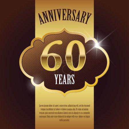 """60 Year Anniversary"" - Elegant Golden Design Template , Background , Seal"