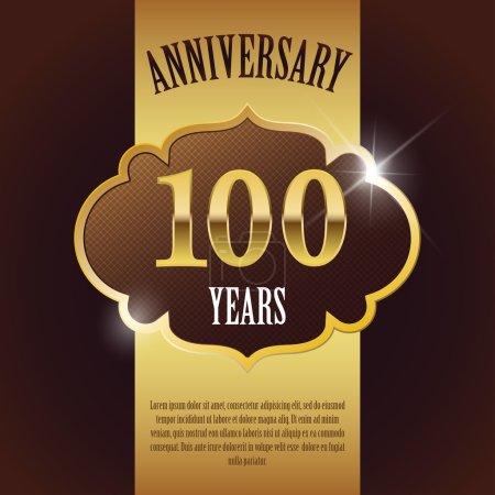 """100 Year Anniversary"" - Elegant Golden Design Template , Background , Seal"