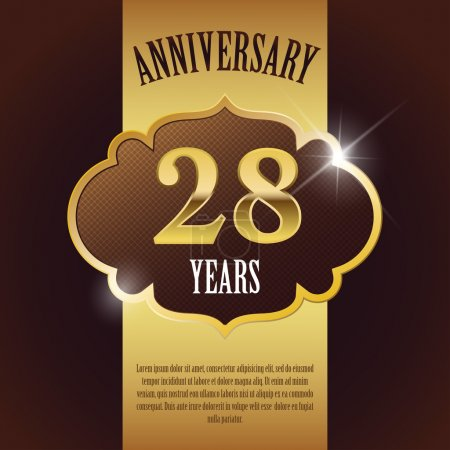 """28 Year Anniversary"" - Elegant Golden Design Template , Background , Seal"