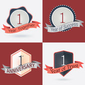 1st Anniversary  1 year together  1 year of Success  1 year of trust - Set of Retro vector Stamps and Seal