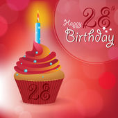 Happy 28th Birthday greeting invitation message - Bokeh Vector Background with a candle on a cupcake