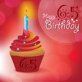 Happy 65th Birthday greeting invitation message - Bokeh Vector Background with a candle on a cupcake