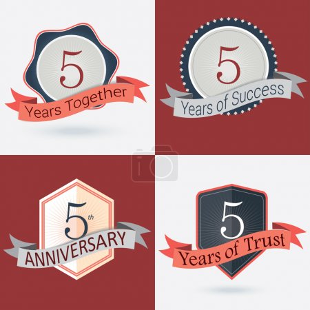 5th Anniversary , 5 year together , 5 year of Success , 5 year of trust - Set of Retro vector Stamps and Seal