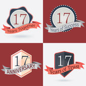 17th Anniversary  17 years together  17 years of Success  17 years of trust - Set of Retro vector Stamps and Seal