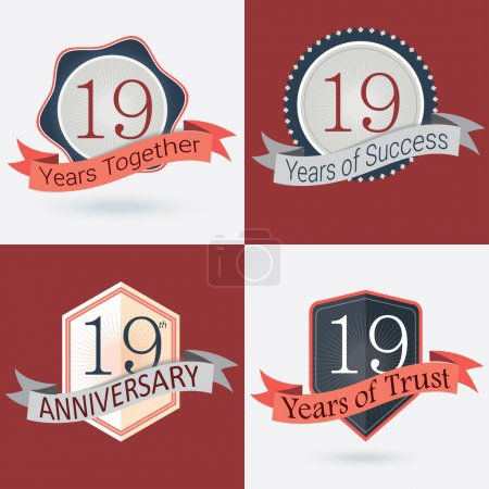 Illustration for 19th Anniversary , 19 years together , 19 years of Success , 19 years of trust - Set of Retro vector Stamps and Seal - Royalty Free Image
