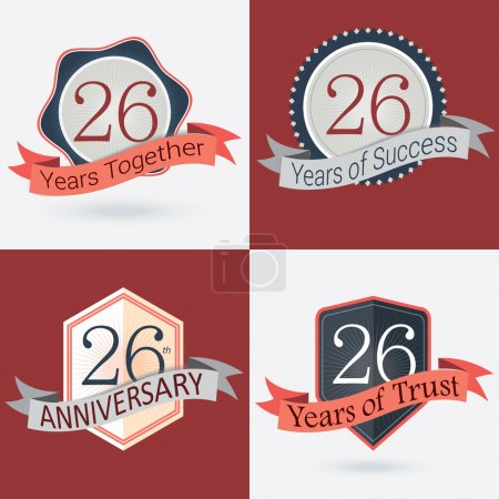 26th Anniversary , 26 years together , 26 years of Success , 26 years of trust - Set of Retro vector Stamps and Seal