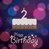 Happy 2nd Birthday - Bokeh Vector Background with cake