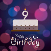 Happy Birthday greeting card invitation message - Bokeh Vector Background with cake