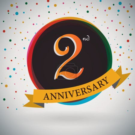 2nd Anniversary poster , template design in retro style - Vector Background