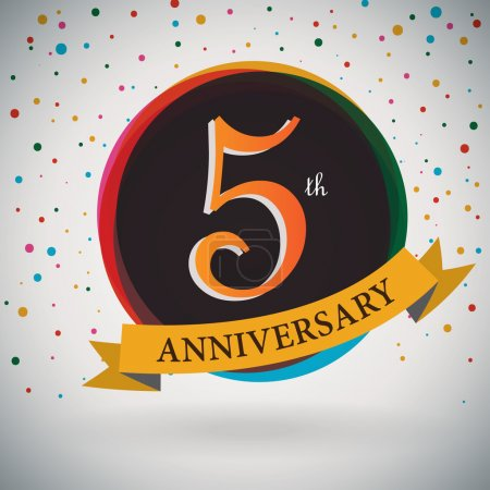 5th Anniversary poster , template design in retro style - Vector Background