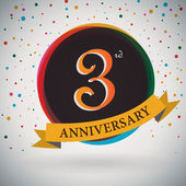 3rd Anniversary poster  template design in retro style - Vector Background