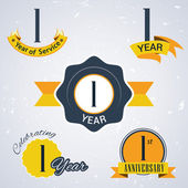 1 Year of service, 1 year . Celebrating 1 year , 1st Anniversary - Set of Retro vector Stamps and Seal for business