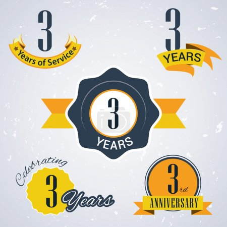 3 Years of service, 3 years . Celebrating 3 years , 3rd Anniversary - Set of Retro vector Stamps and Seal for business