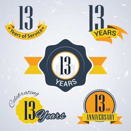 13 years of service, 13 years . Celebrating 13 years , 13th Anniversary - Set of Retro vector Stamps and Seal for business