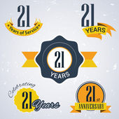 21 years of service 21 years  Celebrating 21 years  21st Anniversary - Set of Retro vector Stamps and Seal for business