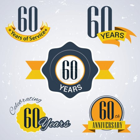 60 years of service, 60 years . Celebrating 60 years , 60th Anniversary - Set of Retro vector Stamps and Seal for business