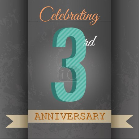 3rd Anniversary poster , template design in retro style - Vector Background