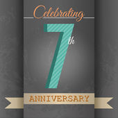 7th Anniversary poster  template design in retro style - Vector Background